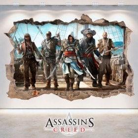 3D vinyl hole wall Assassin's Creed
