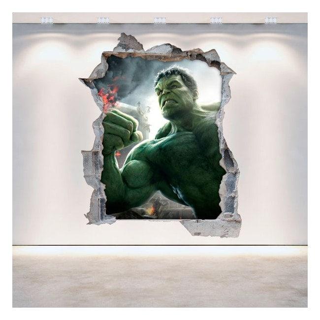 3D wall vinyls broken Hulk
