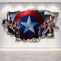 Vinyl Captain America wall broken 3D