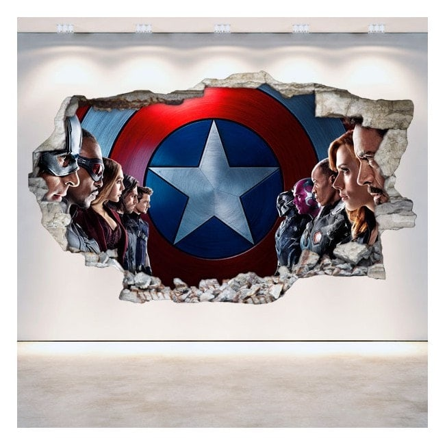 Vinyl Captain America wall broken 3D