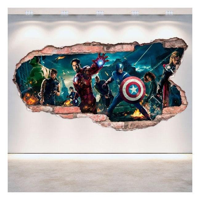 Vinyl wall broken 3D Captain America