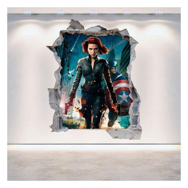3D wall-broken vinyl Captain America