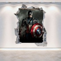 Vinyl wall rotating Captain America 3D