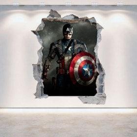 Vinyl wall rotating Captain America 3D