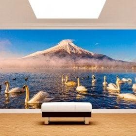 Swan Lake Kawaguchi Mt. Fuji Photo wall murals