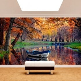 Photo wall murals boat on the Lake