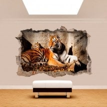 Vinyl wall broken 3D Tiger