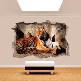 Vinyl wall broken 3D Tiger