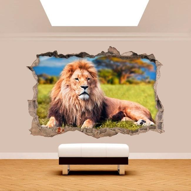 Vinyl wall broken 3D lion Africa