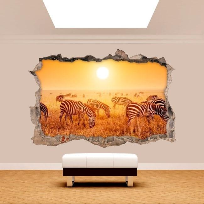 Vinyl wall broken 3D zebras Africa
