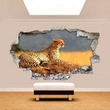 Broken Africa Leopard 3D wall vinyl