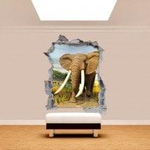 Vinyl wall broken 3D elephant Africa