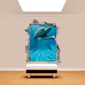 Vinyl wall broken dolphins 3D
