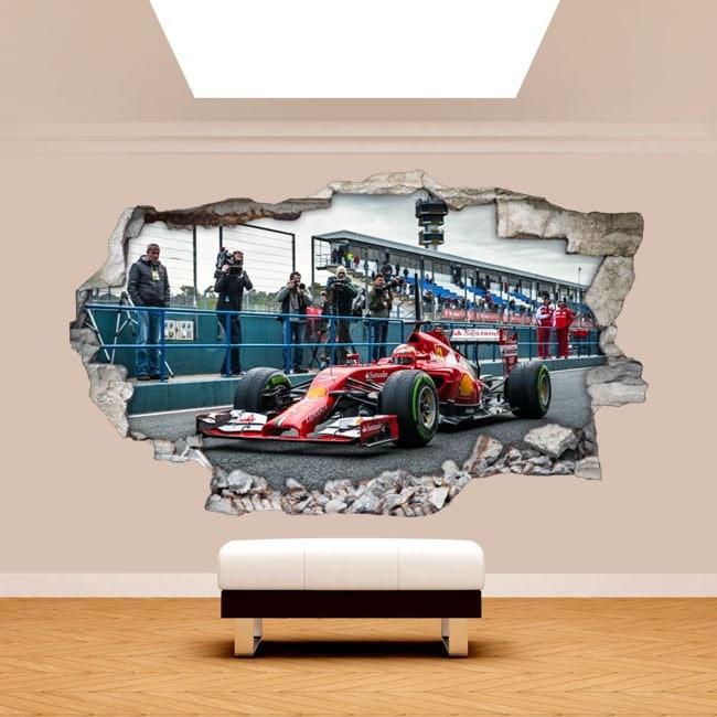 Vinyl wall 3D rotating car Formula 1