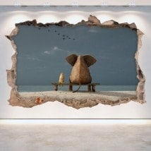 Vinyl hole wall elephant and dog 3D