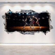 Vinyl wall 3D rotating basketball