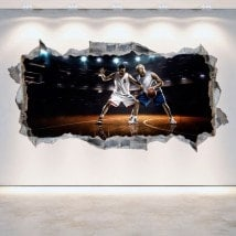 Vinyl wall rotating 3D basketball