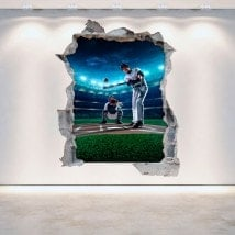 Vinyl wall broken Baseball 3D English 5293