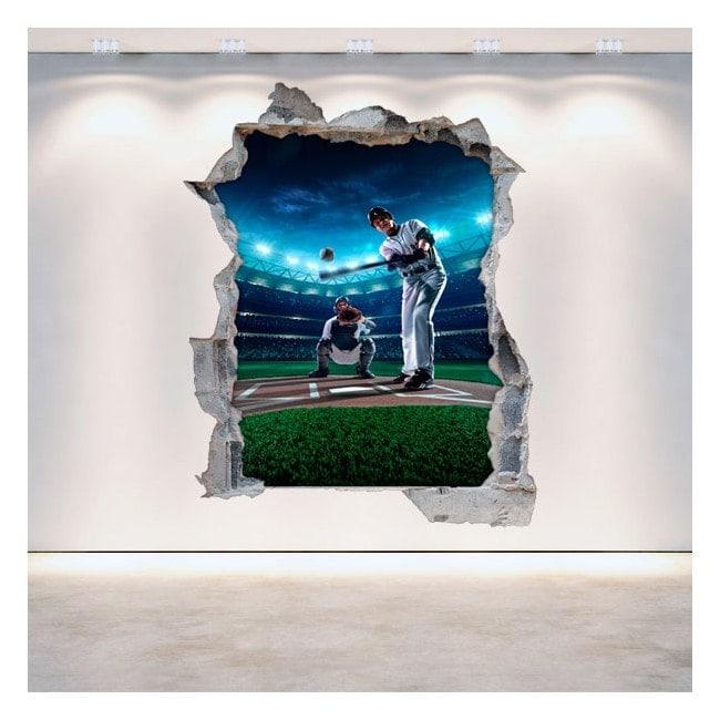 Vinyl wall broken Baseball 3D English 5293