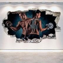 3D vinyl hole wall gym