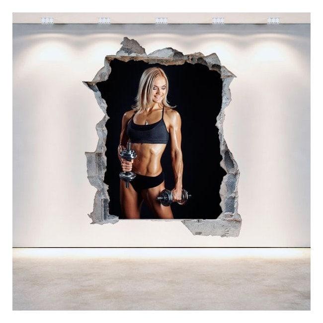 3D gyms vinyl wall-broken