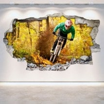 Mountain Bike 3D wall-broken vinyl