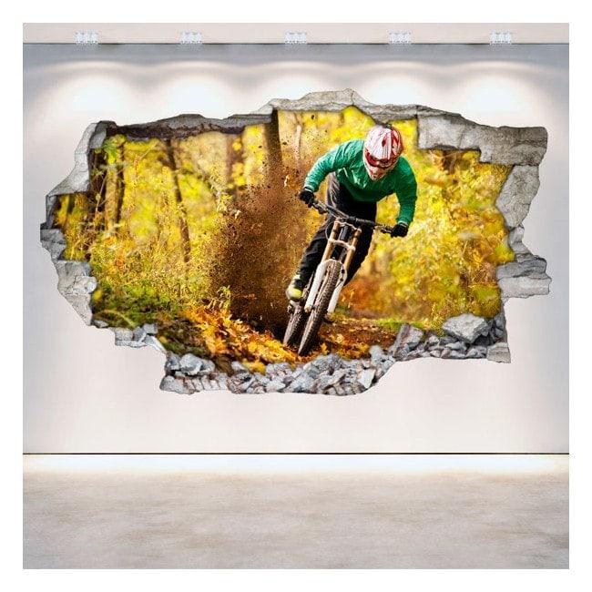 Mountain Bike 3D wall-broken vinyl