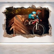 Vinyl wall broken 3D Mountain Bike