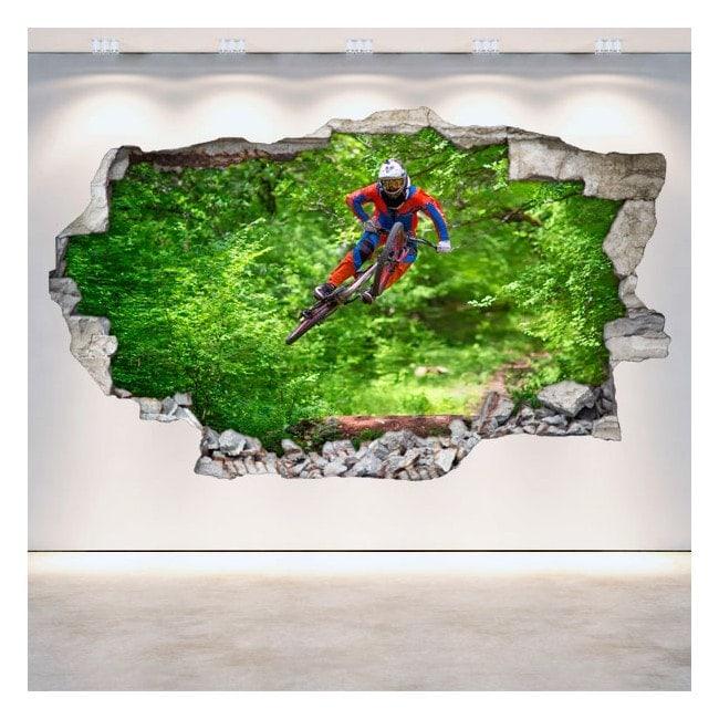 3D Mountain Bike vinyl hole wall