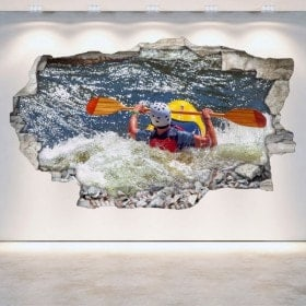 3D Rafting kayaking vinyl wall-broken