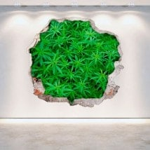 Vinyl marijuana hole 3D wall