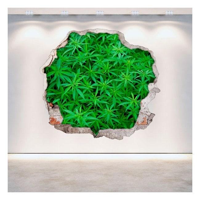 Vinyl marijuana hole 3D wall