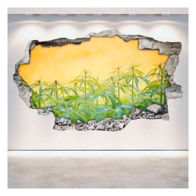 Vinyl marijuana broken wall 3D