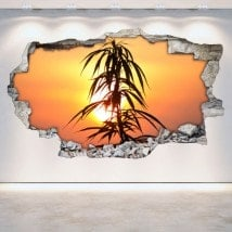 Luminescent panels dividing fluowall marijuana 3D wall-broken