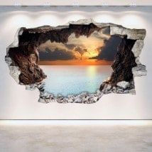 Vinyl wall broken caves 3D English 5338