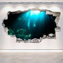 Vinyl wall-broken underwater caves 3D