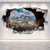 Vinyl caves 3D wall-broken