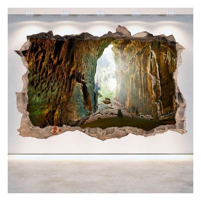 Decorative vinyl wall-broken caves 3D