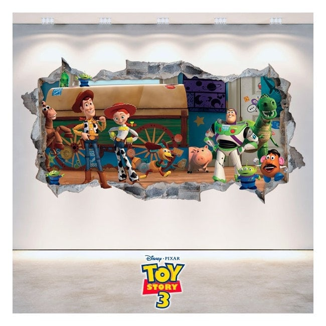 Decorative vinyl Toy Story 3 wall broken 3D