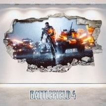 Luminescent panels dividing fluowall Battlefield broken 3D wall