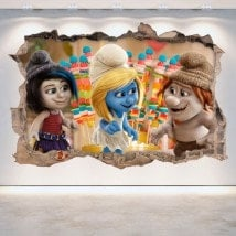 Decorative vinyl wall-broken Smurfs 3D