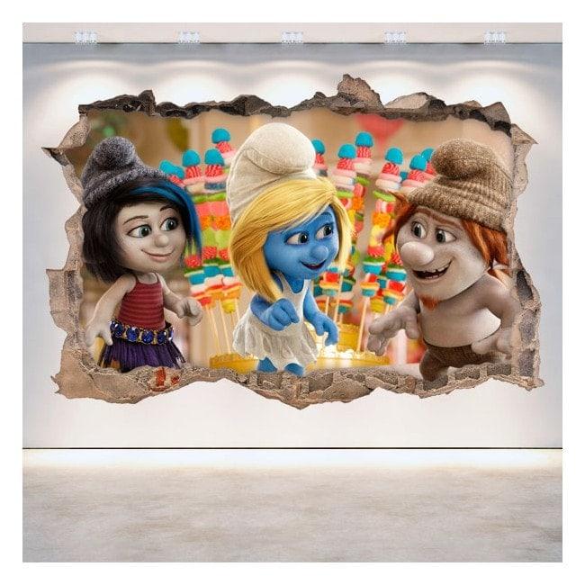 Decorative vinyl wall-broken Smurfs 3D