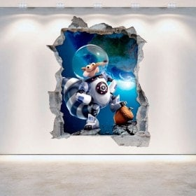 Decorative vinyl 3D Ice Age 5 broken wall