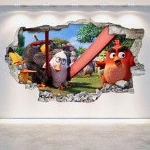 Luminescent panels dividing fluowall Angry Birds broken 3D wall