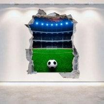 Vinyl wall broken 3D football stadium