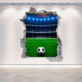 Vinyl wall broken 3D football stadium