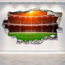 Vinyl football stadium broken 3D wall English 5374