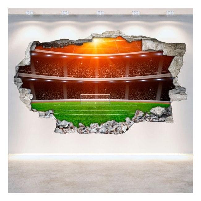 Vinyl football stadium broken 3D wall English 5374