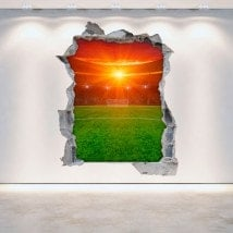 Vinyl football stadium broken 3D wall English 5376