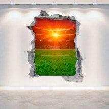 Vinyl football stadium broken 3D wall English 5376